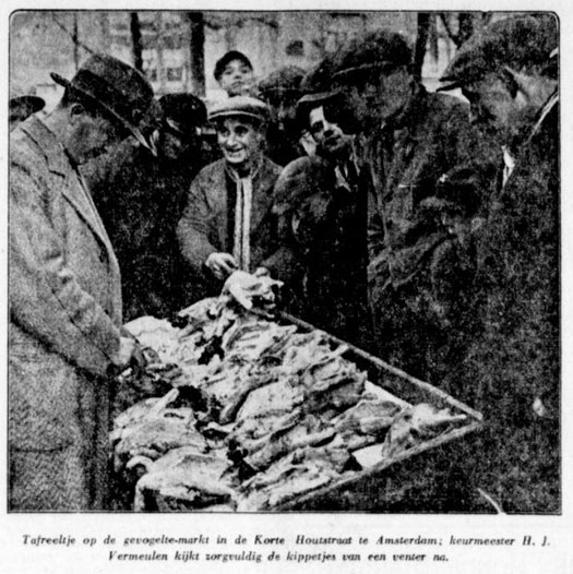 Vogeltjesmarkt Houtstraat 1930