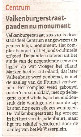 Monument Op 30 mei 2009 stond onderstaand artikel in het Parool (met dank aan F. Sprenger).