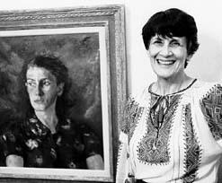 Tina Strobos met portret door Martin Monnickendam