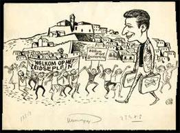 Vamos a Ibiza! Schrijver Harry Mulisch voelde zich net zo thuis op Ibiza als op het Leidseplein. Geen wonder: vele Nederlandse kunstenaars trokken vanaf eind jaren vijftig naar dit eiland. Deze cartoon verscheen in 1959 in Het Vrije Volk.