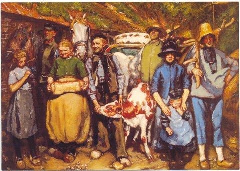 """Boerenfamilie in Stroe, 1922. Via een lezer van de site van de Stichting """"Vrienden van de schilder Martin Monnickendam""""."""