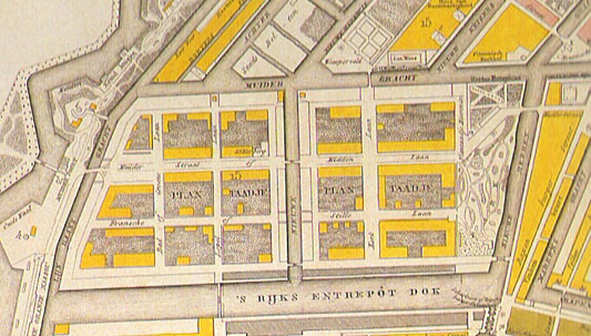 Kaart Plantage, rechts Wertheimpark. 1829